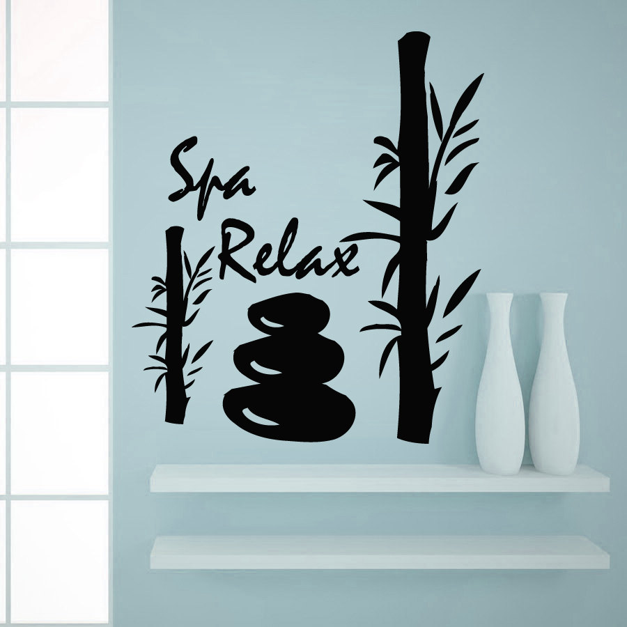 Spa relax bamboo silhouette wall sticker decals beauty for Stickers salon design