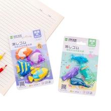 купить 4pcs/set Eraser Marine Animal Whale Dolphins Eraser Set Cute Stationery School Office Party Supplies Gift Girl Student Kids Gift по цене 141.99 рублей