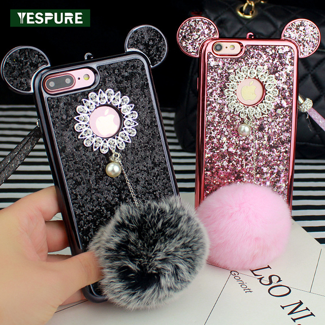YESPURE Fancy Women Phone Cover for Iphone 7 Bling Gliter Mouse Ear Fur Ball TPU Cover Cases