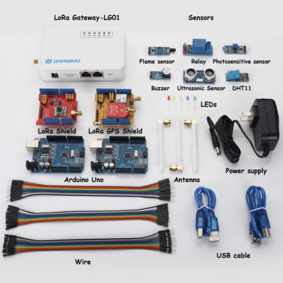 for Dragino LoRa IoT Development Kit Internet of things with LG01-P LoRa Gateway LoRa/GPS Shield 433MHZ 868MHZ 915MHZ high quality for iot m2m internet of things small size gps antenna module gps chip design gm 22u7 uart output protocol