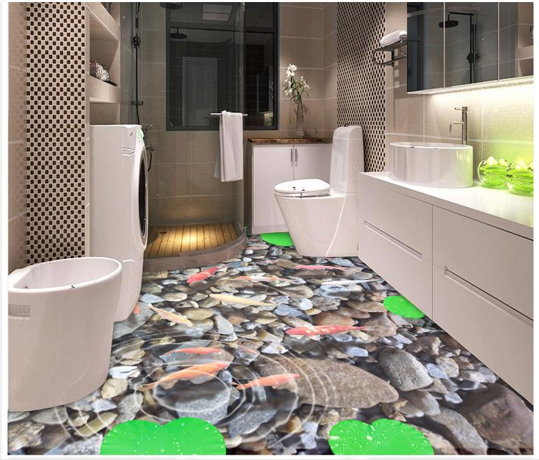 Custom 3d wallpaper 3d flooring painting wallpaper 3d bathroom floor Lotus leaf koi fish floor 3d living room photo wallpaer