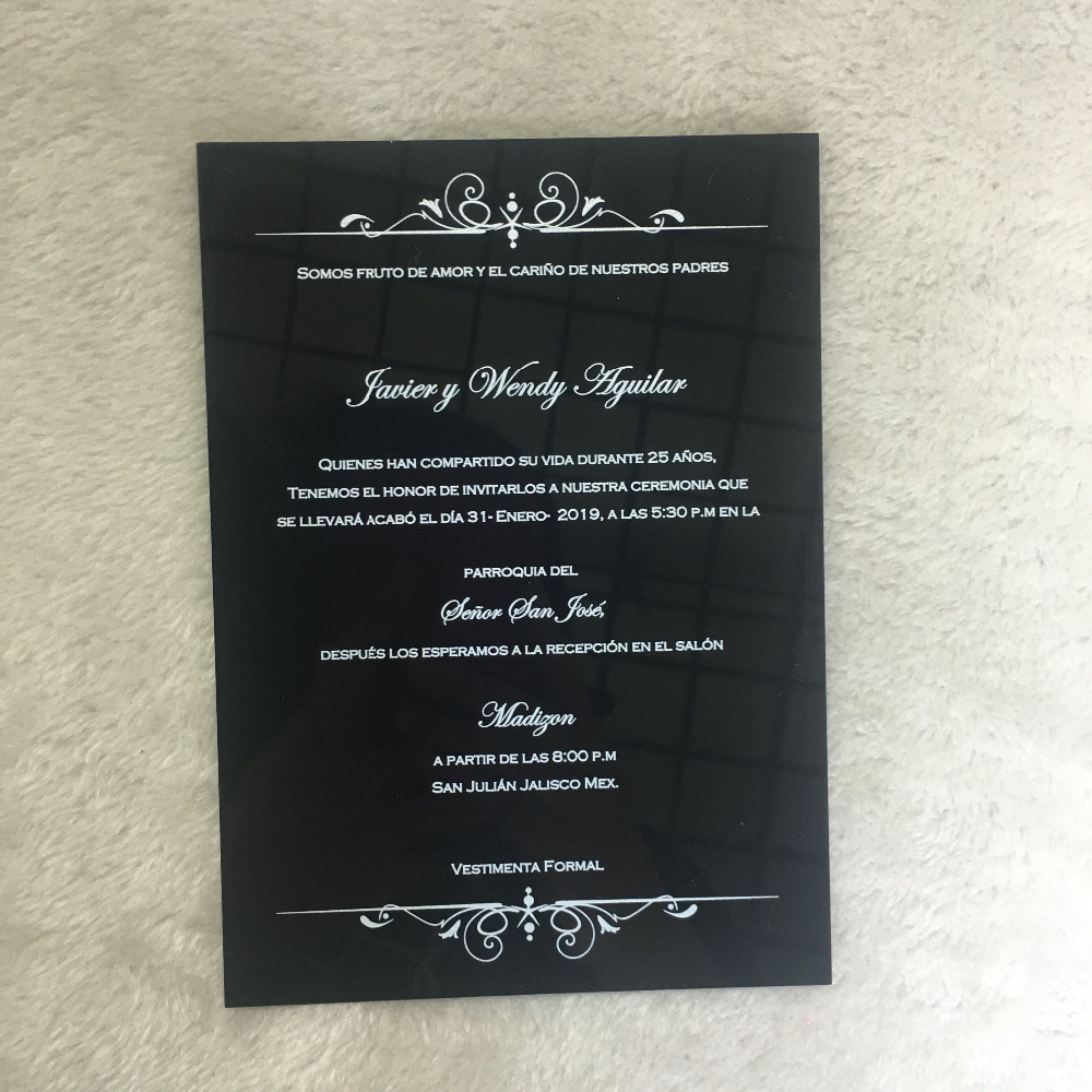 Hot sell wedding gift invitation card black acrylic card with colorful printing customize size image