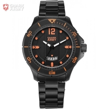 SHARK ARMY Orange Numerals Electroplate Date Display Sports Outdoor Black Steel Band Men's Quartz Watches Timepiece Gift /SAW217