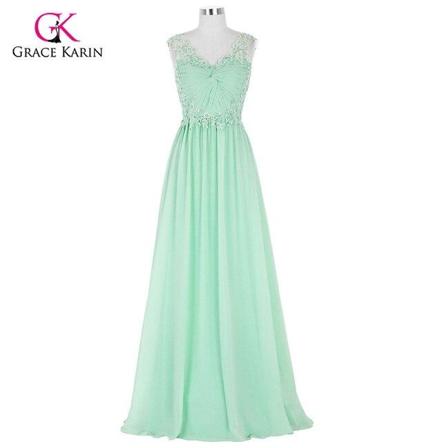 Grace Karin Cap Sleeve Mint Green Long Evening Dress 2018 Chiffon