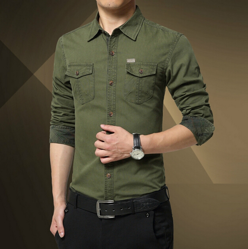 feae5e53e New men's military style shirts mens 100% cottom casual shirt mens slim fit  shirts army green shirt mens outdoor clothes-in Casual Shirts from Men's ...