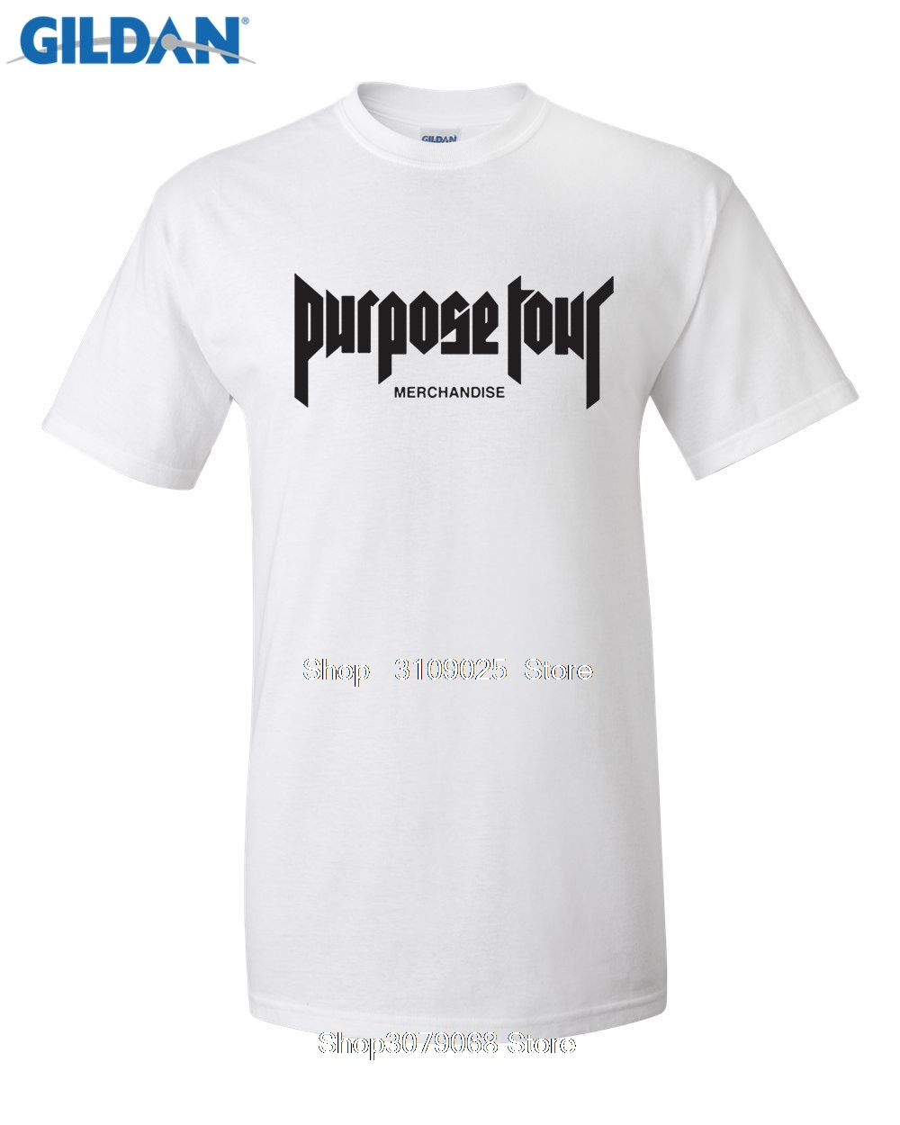 GILDAN Popular Singner Justin Bieber Concert Purpose tour Merchandise Letters Print Men T-shirt Hip Hop Swag Cotton Men Tshirt