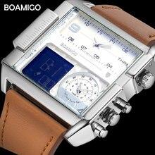 メンズスポーツは、男性軍のデジタルクォーツ時計 BOAMIGO ブランドファッションの正方形の革腕時計レロジオ Masculino