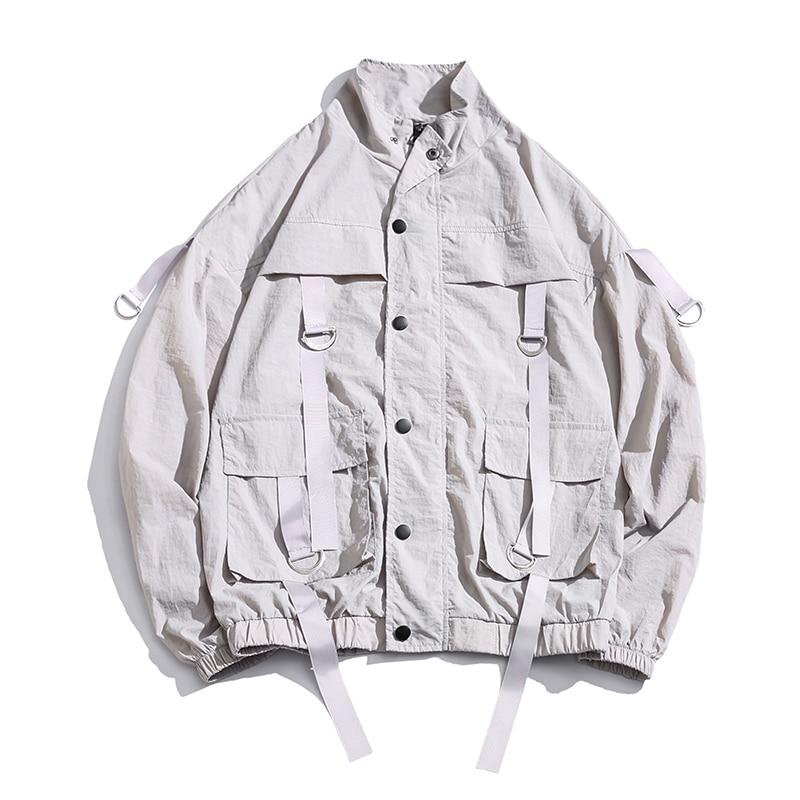 2020 Men Summer Streetwear Bomber Jacket Casual Hip Hop Mens  Windbreaker Jackets Pockets Ribbons Thin Harajuku Man Jacket