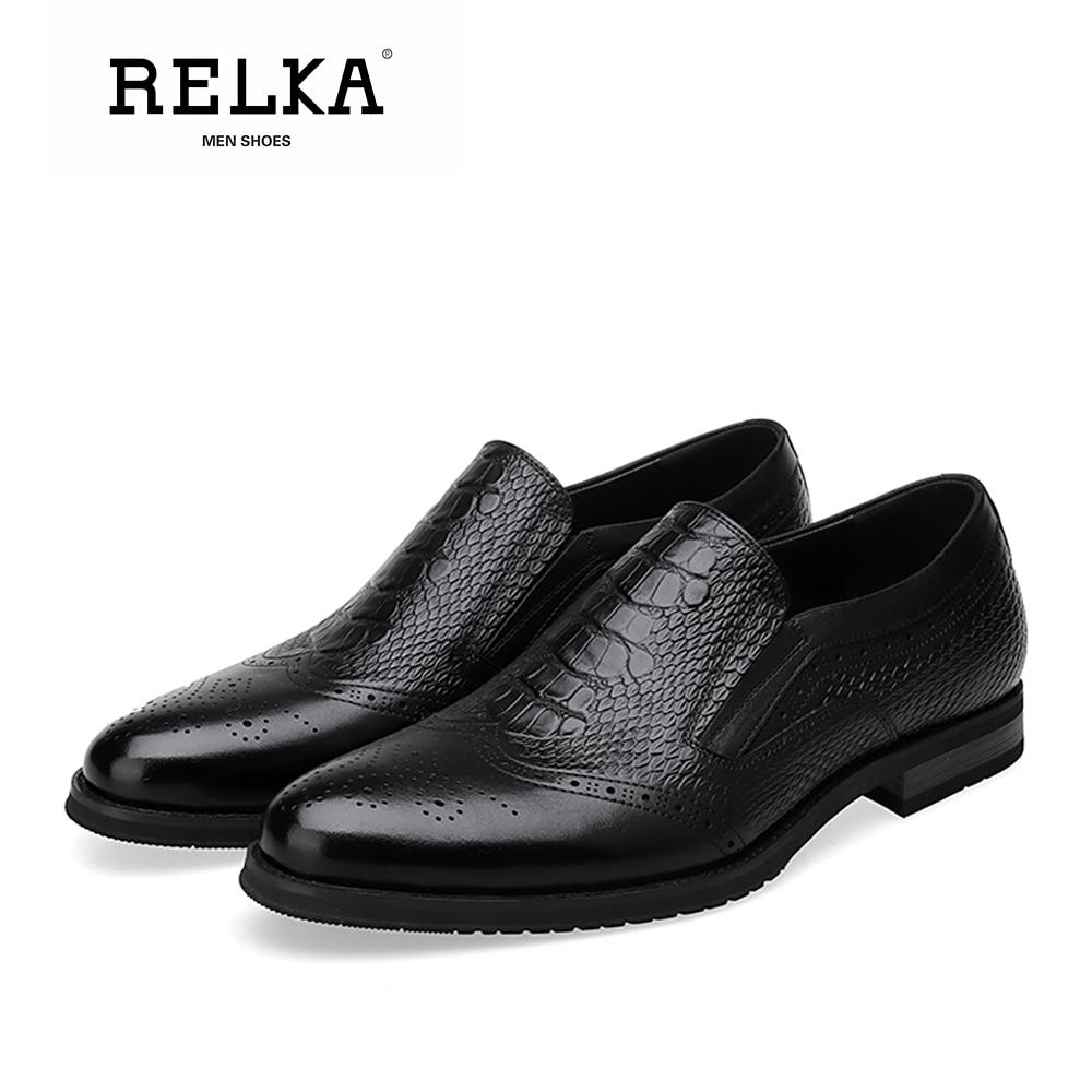 Luxo Casuais Relka Apontado Vintage Genuína Qualidade Brown Sólida black P31 Macio Slip Dedo Salto on Do Couro Alta Baixo Homens Básicos De Sapatos xrqwr4