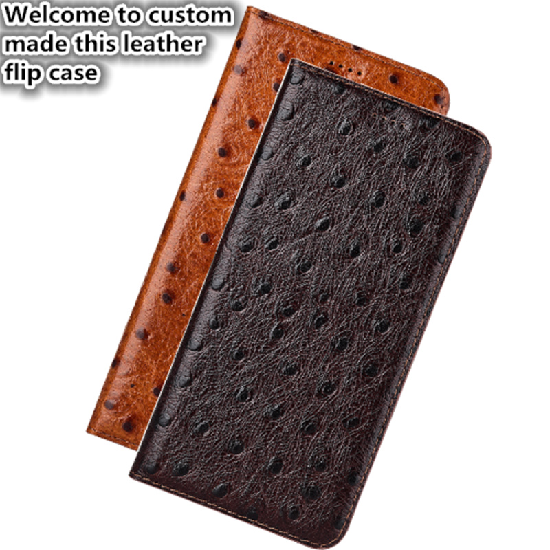 NC11 Ostrich pattern genuine leather flip case for HTC U11(5.5') phone case for HTC U11 flip cover case free shipping