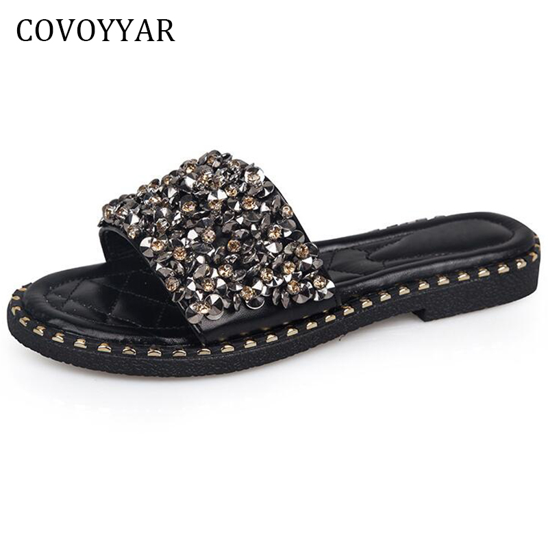 COVOYYAR 2018 Bling Women Beach Slippers Summer Fashion Glitter Rhinestone Outside Sandals Women Flat Slides Shoes WSS344 недорго, оригинальная цена