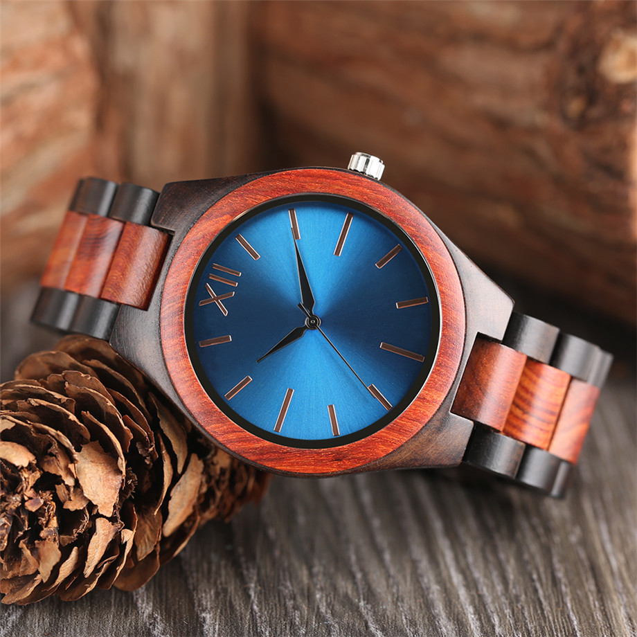 Dark Brown Sapphire Blue Nature wood watch men casual 21