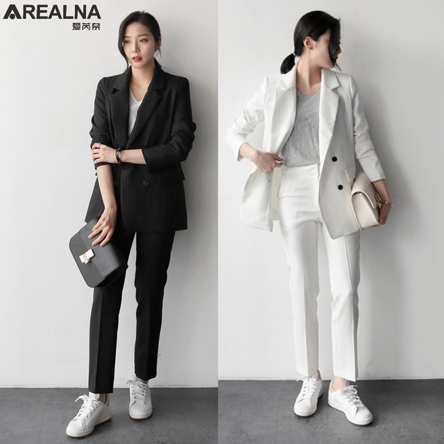 Autumn Pant Suits Women Casual stripe Office Business Suits Formal Work Wear  Sets Elegant blazer+Pant Suits 2 pcs women s suits 14a5bd6e5