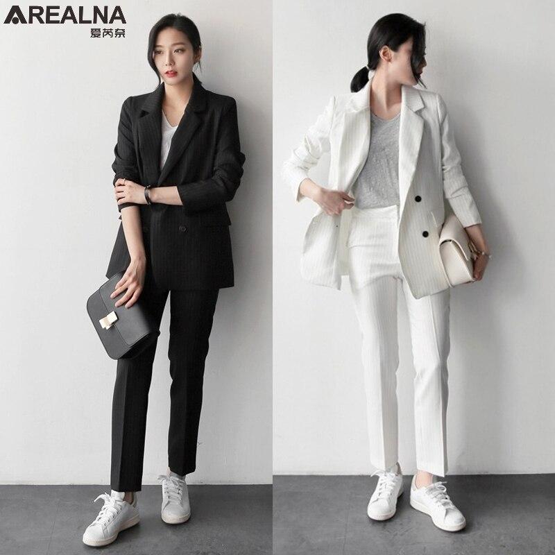 Set Le 2 Ufficio Wear Tute Blazer Vestiti Delle Formale Affari Donne Di Pz Autunno Casuale Il bianco Elegante Nero Della Banda Work Pant 6xwAqTf