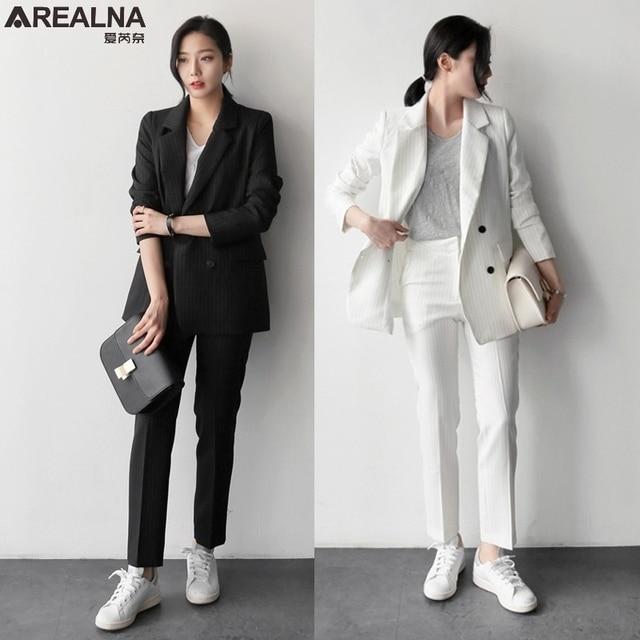 Otoño pantalón trajes mujer Casual rayas Oficina negocios trajes Formal  ropa de trabajo conjuntos elegante blazer 4f6aeb2c44c0