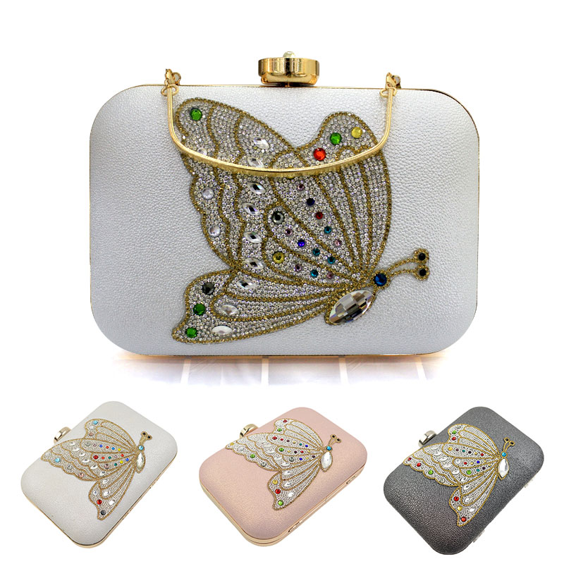 046d35b1d0 Pink   White   Black Butterfly Crystal Evening Bag Clutch Bags ...