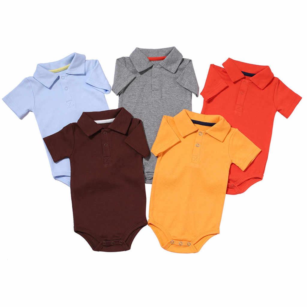 Niño recién nacido bebé niño niña mono ropa verano Color sólido solapa manga corta mono ropa bebé niña trajes