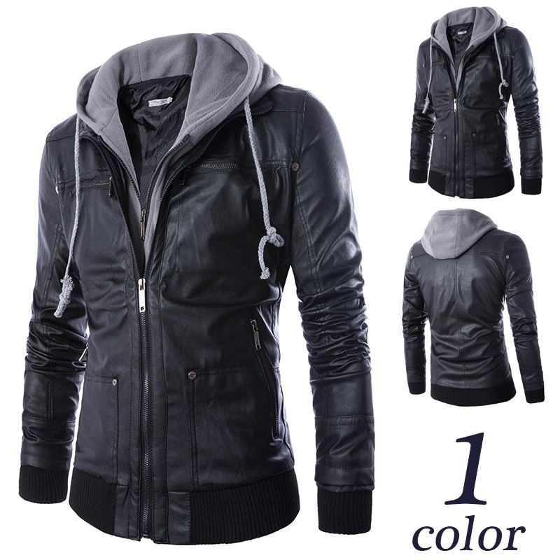 3854e9ae75e US $32.3 5% OFF|2017 Men Motorcycle Black PU Leather Coats Mens Slim Fit  Hooded Jackets jaqueta couro male Europe Style Leather Hoodies 040406-in ...