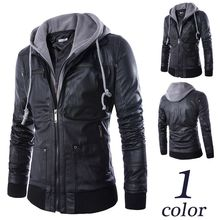 HOT Selling Men Motorcycle Black PU Leather Coats Mens Slim Fit Hooded Jackets jaqueta couro male Europe Style Leather Hoodies