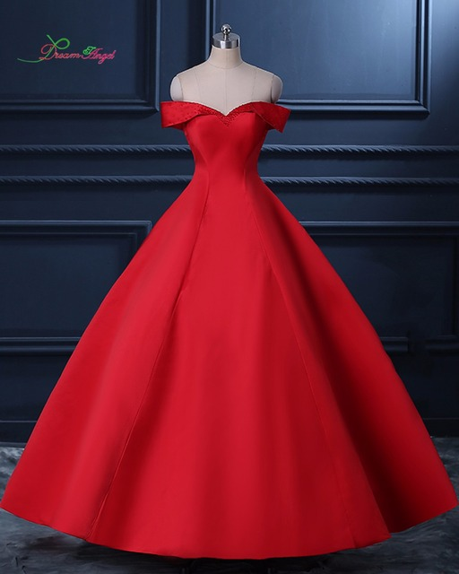 Dream Angel Simple Boat Neck Taffeta Ball Gown Prom Dresses 2018