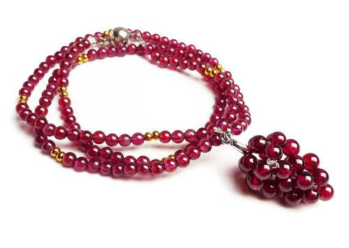 Genuine Natural Red Purple Garnet Crystal Round Beads Women Nice Long Necklace stylish women s beads round arc necklace