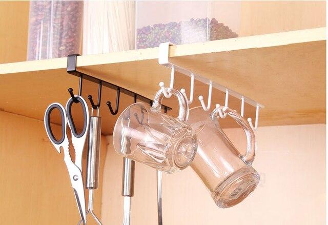 Gabinete de cocina bajo estante 6 Ganchos portavasos hierro colgando ...