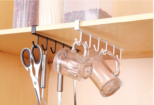 Kitchen Cabinet Under Shelf 6 Hooks Cup Holder Iron Hanging Storage Rack  Glass Mug Drinkware Organiser