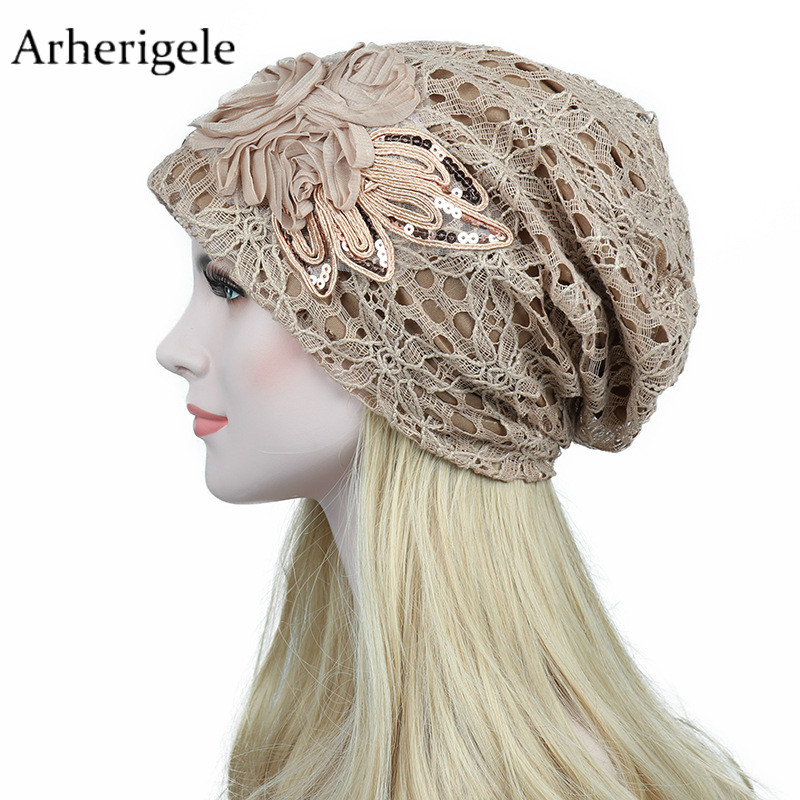 Arherigele 1pcs Fashion Lace Women's Winter Hat Flower Print Knitted Hats Solid Cotton Warm   Skullies     Beanies   Caps Hip Hop Hat