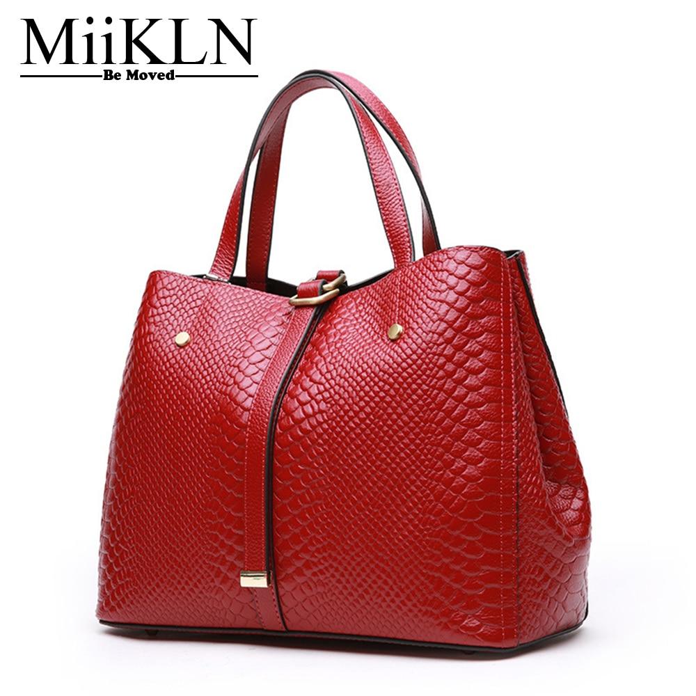 MiiKLN sacs en cuir véritable pour femmes 2017 sac à main en cuir souple rouge noir gris plus grand sac à bandoulière femme grand fourre-tout décontracté