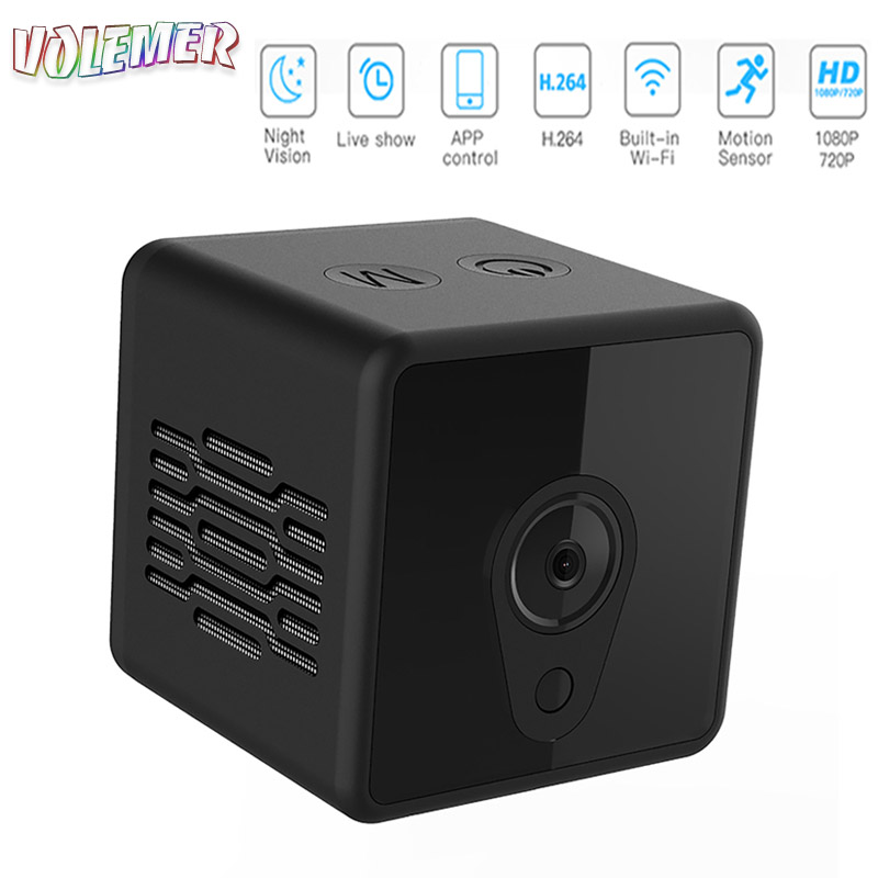 Volemer Mini Camera 140 Wide Angle Home Security Wireless Wifi HD IR Night Vision Portable Small DV Video Camera For Android Ios small wireless aerial recorder camera md80 camera small dv hd camera mini dv micro camera home security
