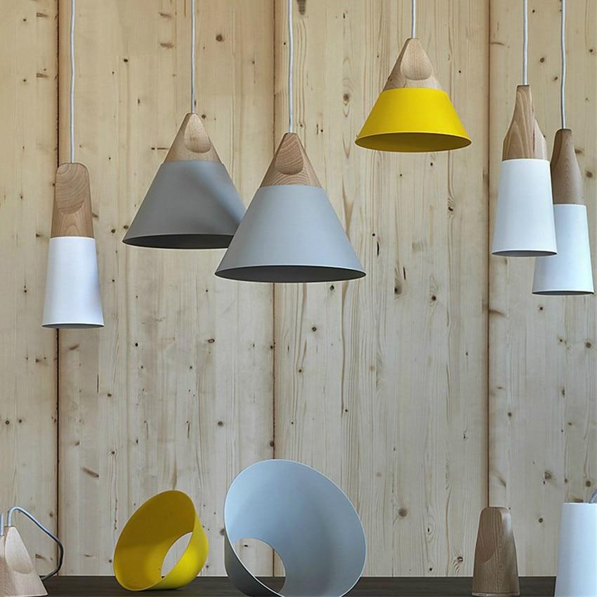 Nordic Post-modern Pendant Lights Wooden+Aluminum Colorful Connected Art Originality Lampshade Pendant Lamp Suspension Luminaire
