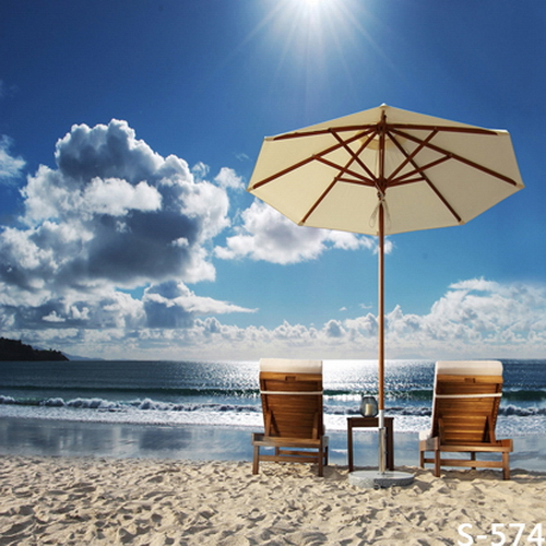 8x8FT Sand Sea Beach Umbrella Chairs Sun Clouds Sky Custom Photo Background  Studio Backdrop Vinyl 240cm X 240cm In Background From Consumer Electronics  On ...