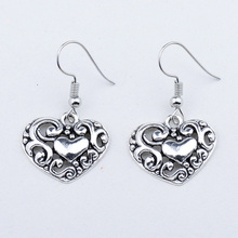 Cute Vintage Antique Silver Color Tibetan Hollow Out Heart Earrings Cheap Jewelry Gift For Women Girls vintage solid color hollow out necklace for women