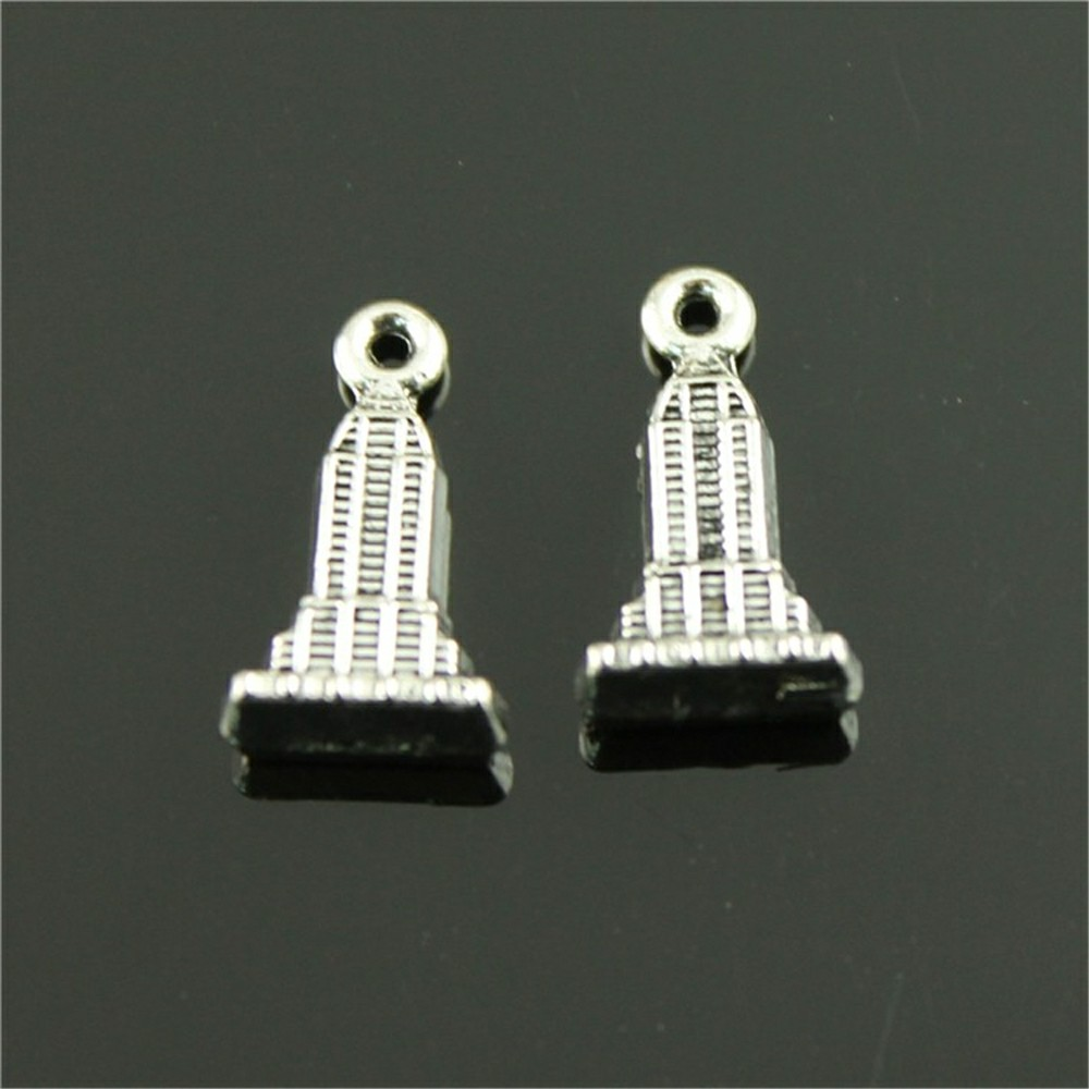 6pcs House Skyscraper Pendant Charms For Jewelry Making Antique Bronze Antique Silver Skyscraper Charms Charm Building 18x10mm