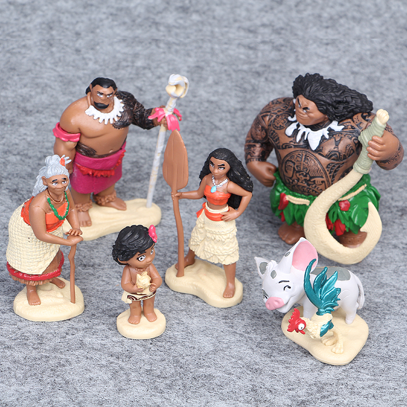 6pcs/set 6-12cm Moana Princess Maui Chief Tui Tala Heihei Pua Nendoroid Mini Action Figure Brinquedo Toys For Children New Year