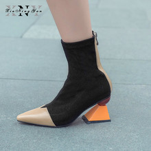 XiuNingYan Women Sock Boots Stretch Fabric Pointed Toe Genuine Leather Zipper Ankle Boots Women Pumps Stiletto Botas Mujer