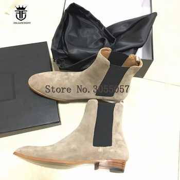 New Genuine Beige Suede Leather Tan Chelsea Boots Kanyest West Street Quality Slip-On Genuine Leather wedge Cowboy wyatt Boots