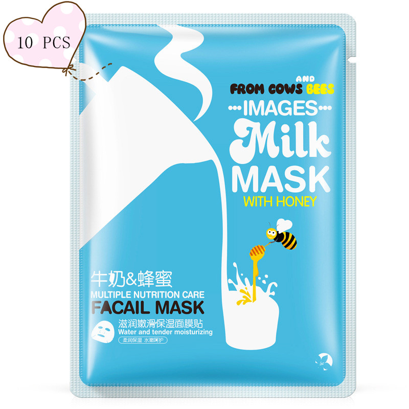 10 Pcs Milk Multiple Nutrition Care Water with Honey Tender Moisturizing Mask Face Mask Facial Mask Facial Korean Skin Care