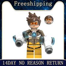 Building Blocks Famous Movie Character Tracer D.va Soldier Reaper Reinhardt Jesse-Maccree Bricks Toys For Children XH1046(China)