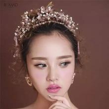 Romad Gold Pearl Bridal Crowns Handmade Tiara Bride Headband Pink Crystal Wedding Crown