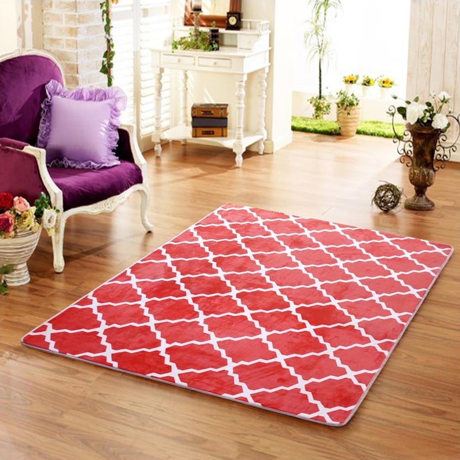 Tapis doux rouge pour tapis de salon couverture de sol épais tapis de Yoga chambre tapis de fourrure et tapis pour la décoration de la maison