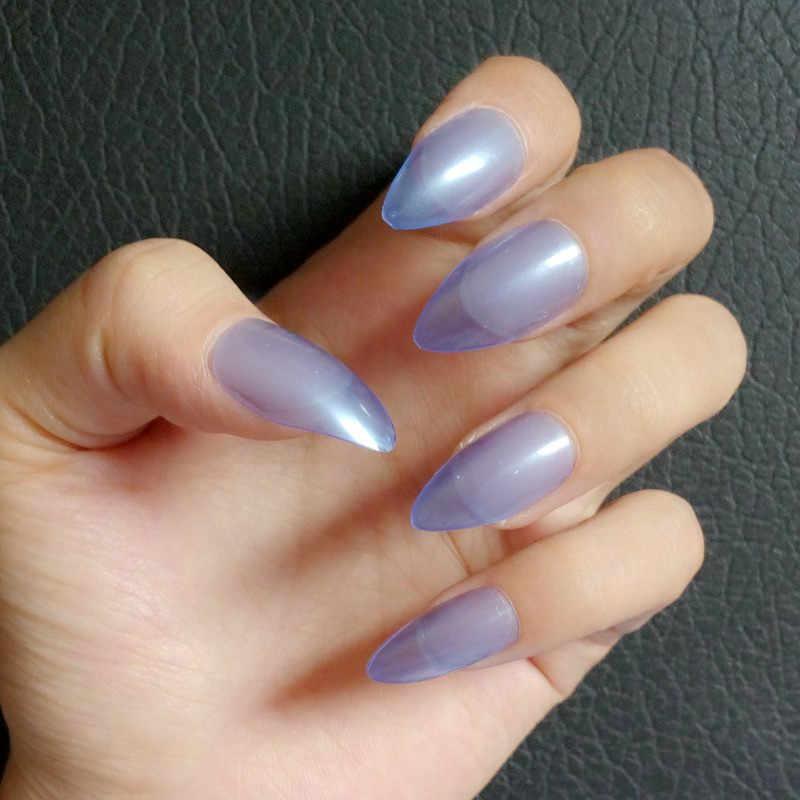 24Pcs Clear Blue Fake Nail Acrylic Stiletto Nails Fashion Lady Short False  Nail DIY Press On Nail Accessories Daily Wear E006