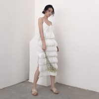 Fabulous temperament unstoppable Europe and the United States summer strap dress romantic layers petals split dress