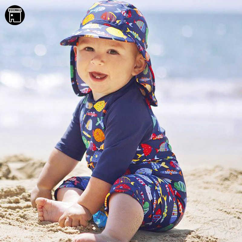 833c2c8a79 USEEMALL 2018 New Cute Baby Boy Swimwear One Piece Kids Boys Swimsuit  Cartoon Swimming Suit Children
