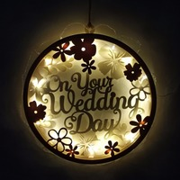 BHomify New Romantic Wooden Wedding Sign LED String Light Wedding Party Favor Gift Reception Lamp Operated Outdoor Garland Yard