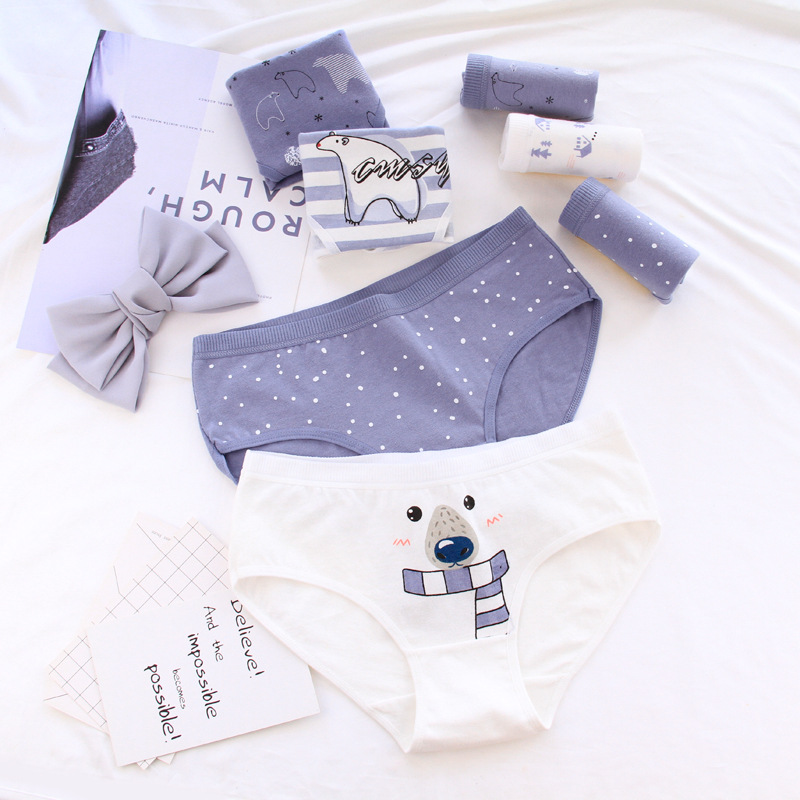 New Arrived 4Pcs/Lot Girl Panties Bear Printed Underwear Cartoon Briefs Cotton Lingerie Soft Comfortable Panty Wholesale 0745