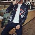 Fashion Japan Style Jacket Men Spring 2017 New Graffiti Print Men Coats Plus Size Slim Fit Casual Windbreaker Jacket Man Coats