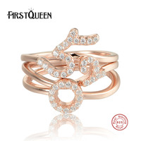 FirstQueen Authentic 100% 925 Sterling Silver Chinese I Love You Stackable Ring Compatible with Original Jewelry
