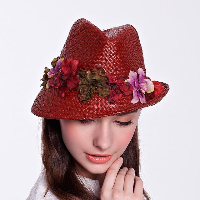 2016 nueva moda de la señora sombrero de sol plegable verano OutdoorWide ala grande Beach Sun Straw Hat Cap para mujer elegante Headwear B-1936