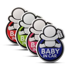4 Color Lovely BABY IN CAR Car 3D Sticker Reflective Warning Decal Waterproof Window Vinyl Cover Blue Red Pink Green 10.2×7.4cm